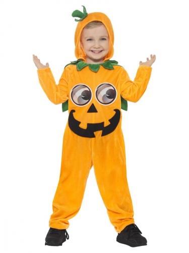 Kürbis-Kostüm für Kinder Halloween-Kostüm orange-schwarz-grün