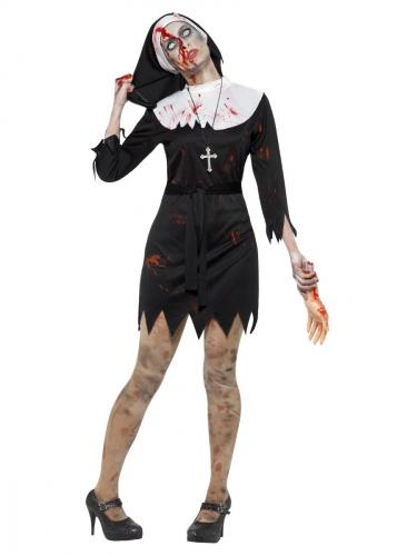 Blutiges Zombie-Nonnen-Kostüm für Halloween schwarz-weiss-rot