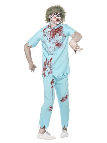 Zombie-Arzt-Kostüm Untoter Zahnarzt Halloweenkostüm hellblau-rot