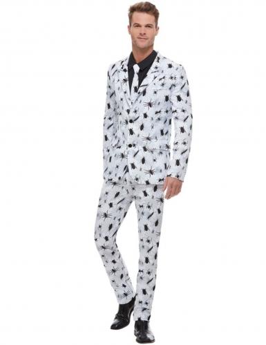 Halloween-Anzug für Herren mit Spinnen und Käfern weiss-schwarz