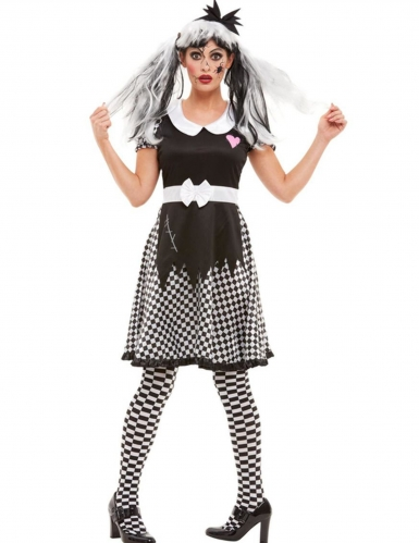 Horror-Puppe-Kostüm Halloween-Kostüm schwarz-weiss