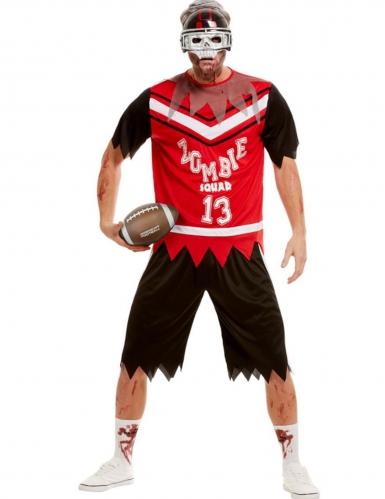 Zombie-Footballspieler-Herrenkostüm Halloween-Kostüm schwarz-rot-weiss