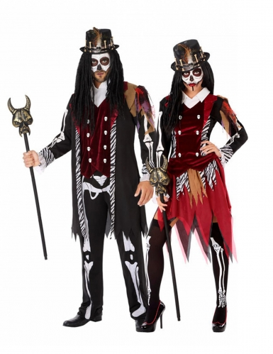Voodoo-Priester-Partnerkostüm schwarz-rot