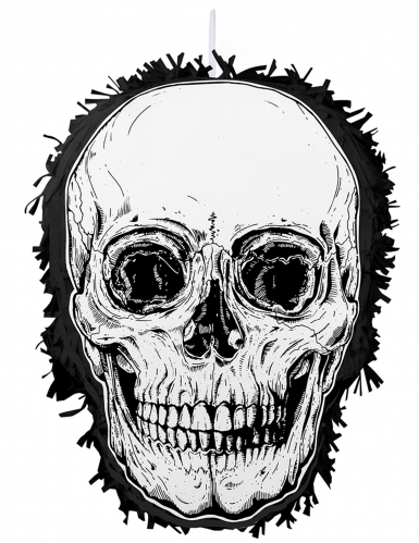 Totenkopf-Piñata Halloween-Deko schwarz-weiss 35x25 cm
