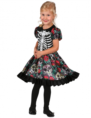 Tag der Toten-Mädchenkostüm Halloween-Kostüm schwarz-bunt