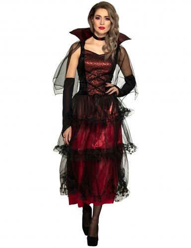 Elegantes Vampir-Kostüm für Damen Vampirgräfin rot-schwarz