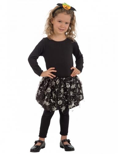 Halloween-Tutu für Kinder Hexen-Rock schwarz-silber