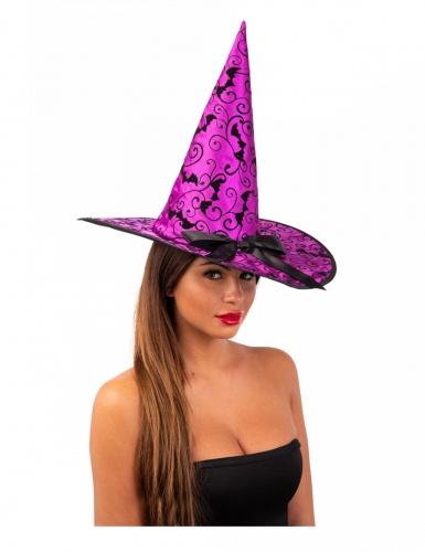 Hexenhut Halloween-Accessoire für Damen lila 36 cm