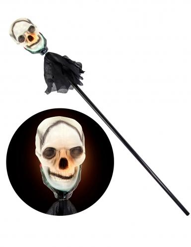 Totenschädel-Stab Halloween-Zepter mit Leuchteffekt schwarz-weiss 120cm