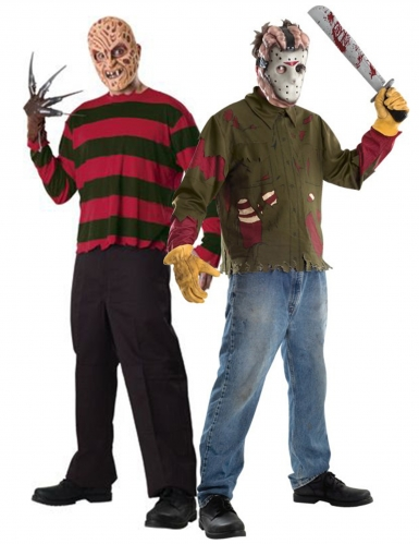 Freddy™ vs. Jason™-Paarkostüm für Erwachsene Halloweenkostüm bunt