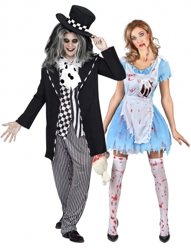 Märchen-Paarkostüm Alice und Hutmacher Halloweenkostüm blau-schwarz
