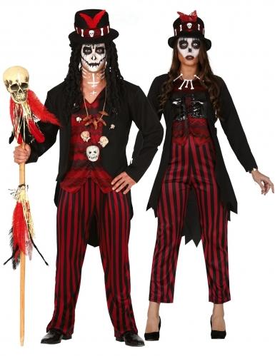 Voodoo-Hexer-Paarkostüm für Erwachsene Halloweenkostüm schwarz-rot