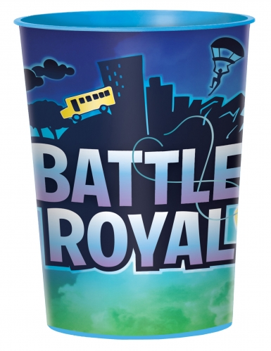 Battle Royale-Trinkbecher Partydeko Gaming blau 473 ml