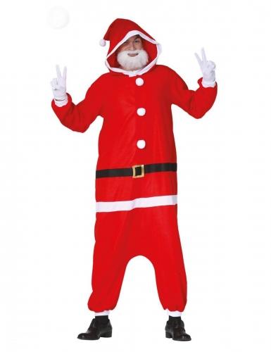 Weihnachtsmann-Kostüm Overall-Kostüm rot-weiss