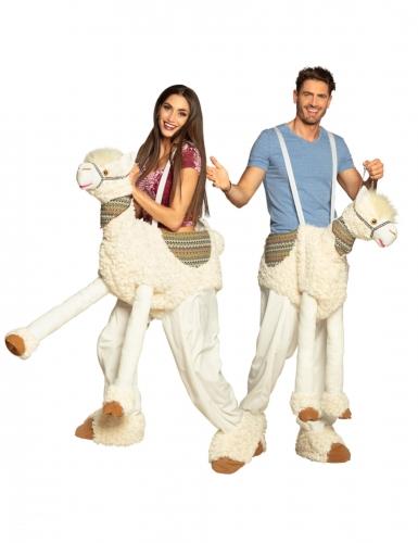 Lama-Kostüm für Erwachsene Huckepack-Kostüm Fasching beige