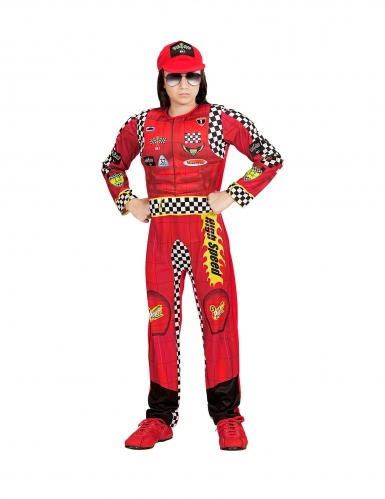 Rennfahrer-Kostüm für Kinder Kinder-Karneval-Kostüm rot