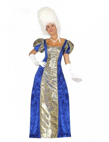 Barock-Kostüm für Damen Karneval-Kostüm blau-gold