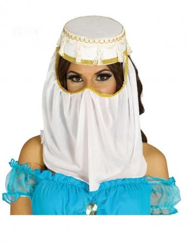 Orientalische Kopfbedeckung für Damen Orient-Prinzessin Faschingsaccessoire weiss-gold