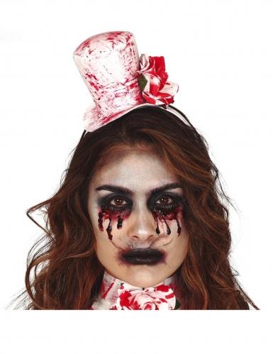 Blutiger Mini-Hut und Kragen für Damen Accessoire-Set weiss-rot