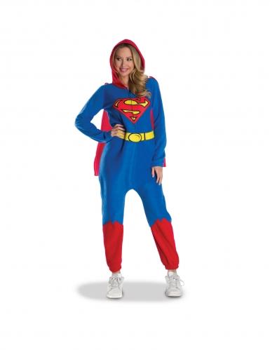 Flauschiges Supergirl™-Kostüm mit Umhang blau-gelb-rot