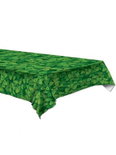 St-Patrick's-Day-Tischdecke Kleeblatt-Deko grün 137 x 274 cm