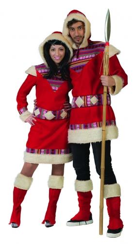 Eskimo-Kostüm für Herren Faschingskostüm rot-weiss