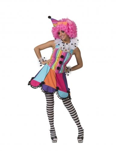 Clownsdame-Kostüm Clown-Kostüm für Damen bunt