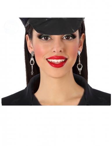 Handschellen-Ohrclips Kostümaccessoire für Karneval silberfarben