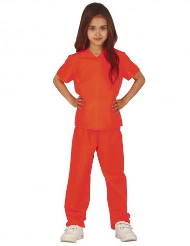 Gefangenen-Kostüm für Kinder Sträfling Faschingskostüm orange