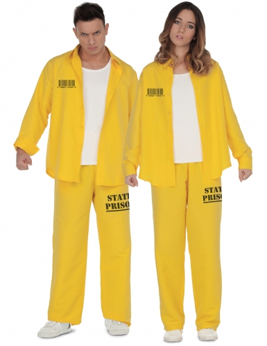 Sträfling-Paarkostüm für Erwachsene Gefangener Faschingskostüm gelb-schwarz
