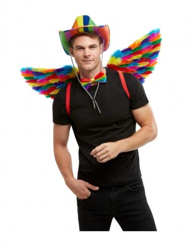 Regenbogen-Flügel Accessoire Fasching Gay Pride bunt