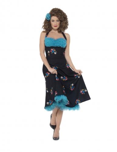 Grease™-Kostüm Cha Cha DiGregorio™ 50er-Kleid für Damen schwarz-blau