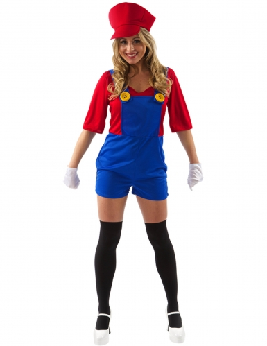 Klempnerin-Kostüm für Damen Faschingskostüm Videospiel rot-blau