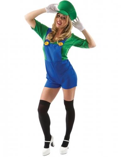 Klempner-Kostüm für Damen kurz Faschingskostüm blau-grün