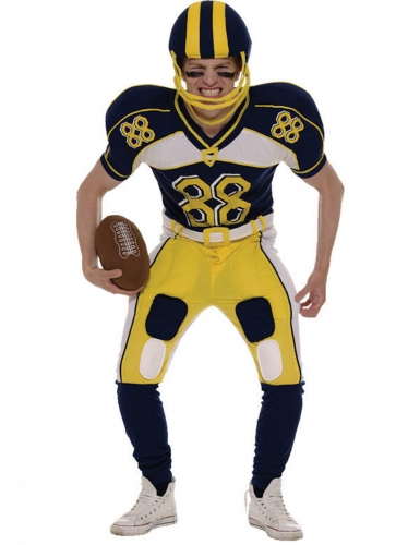 American Football-Herrenkostüm Faschingskostüm dunkelblau-gelb