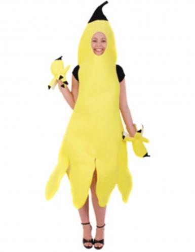 Bananen-Kostüm für Damen mit Fäustlingen gelb