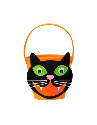 Katzen-Eimer Süßigkeiten Halloween-Accessoire orange-schwarz
