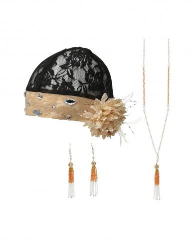 Charleston-Accessoire-Set für Damen 3-teilig schwarz-beige