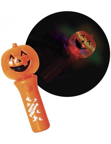 Kürbis-Taschenlampe Happy Halloween orange-schwarz-weiss