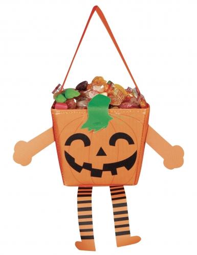 Niedliche Kürbistasche für Kinder Happy-Halloween orangefarben-grün-schwarz 17 cm