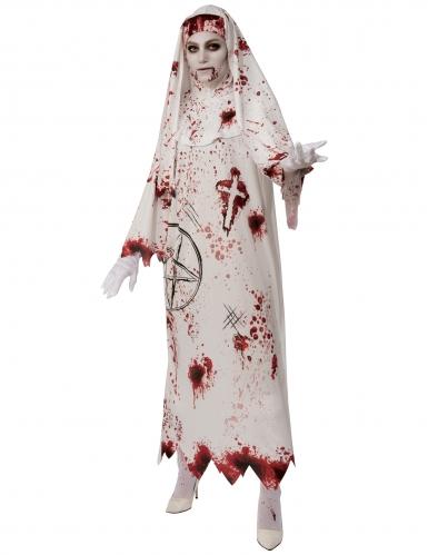 Schockierende Blut-Nonne Halloween-Damenkostüm weiß-rot