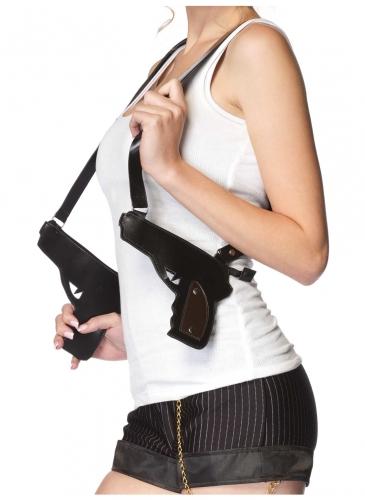 Cooles Doppel-Revolverholster für Erwachsene schwarz