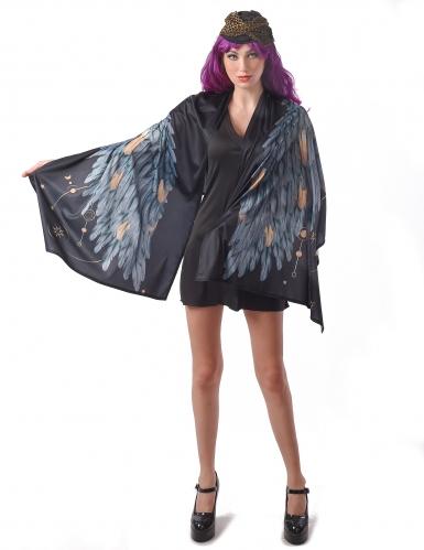 Dunkle Engelsflügel Gefallener-Engel-Kostüm mit Hut schwarz-grau-braun