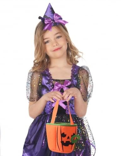 Kürbis-Tasche für Kinder Halloween-Accessoire orange-schwarz