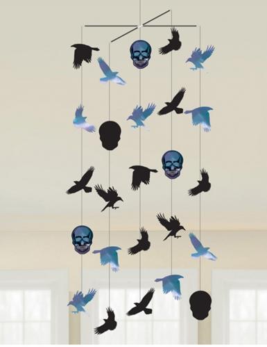 Skelett-Mobilee Boneshine Fevern Halloween-Partydeko schwarz-blau 1 m x 40 cm