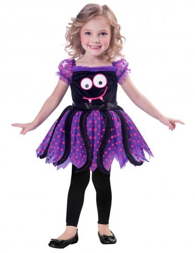 Süsses Spinnen-Kostüm für Mädchen Halloweenkostüm violett-schwarz