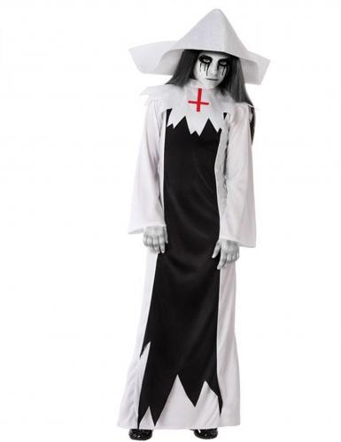 Geister-Nonnen-Kostüm für Mädchen Halloweenkostüm schwarz-weiss