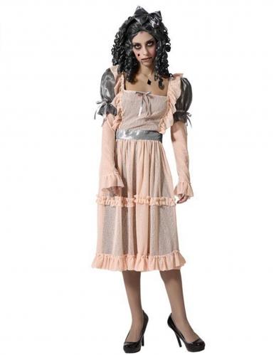 Porzellan-Puppen-Kostüm für Damen Halloweenkostüm beige-grau