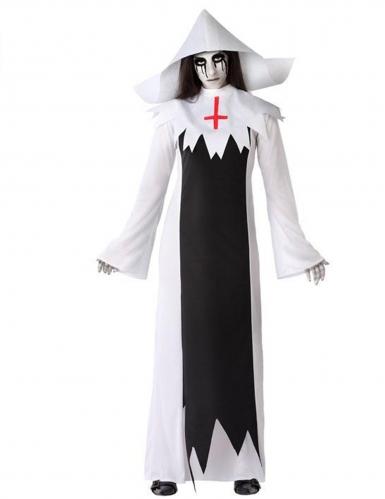 Gruseliges Zombie-Nonne-Kostüm für Damen Halloweenkostüm schwarz-weiss
