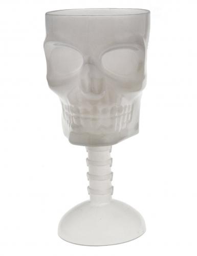 Nachtleuchtendes Totenschädel-Glas Halloween-Tischdeko weiß 18 cm